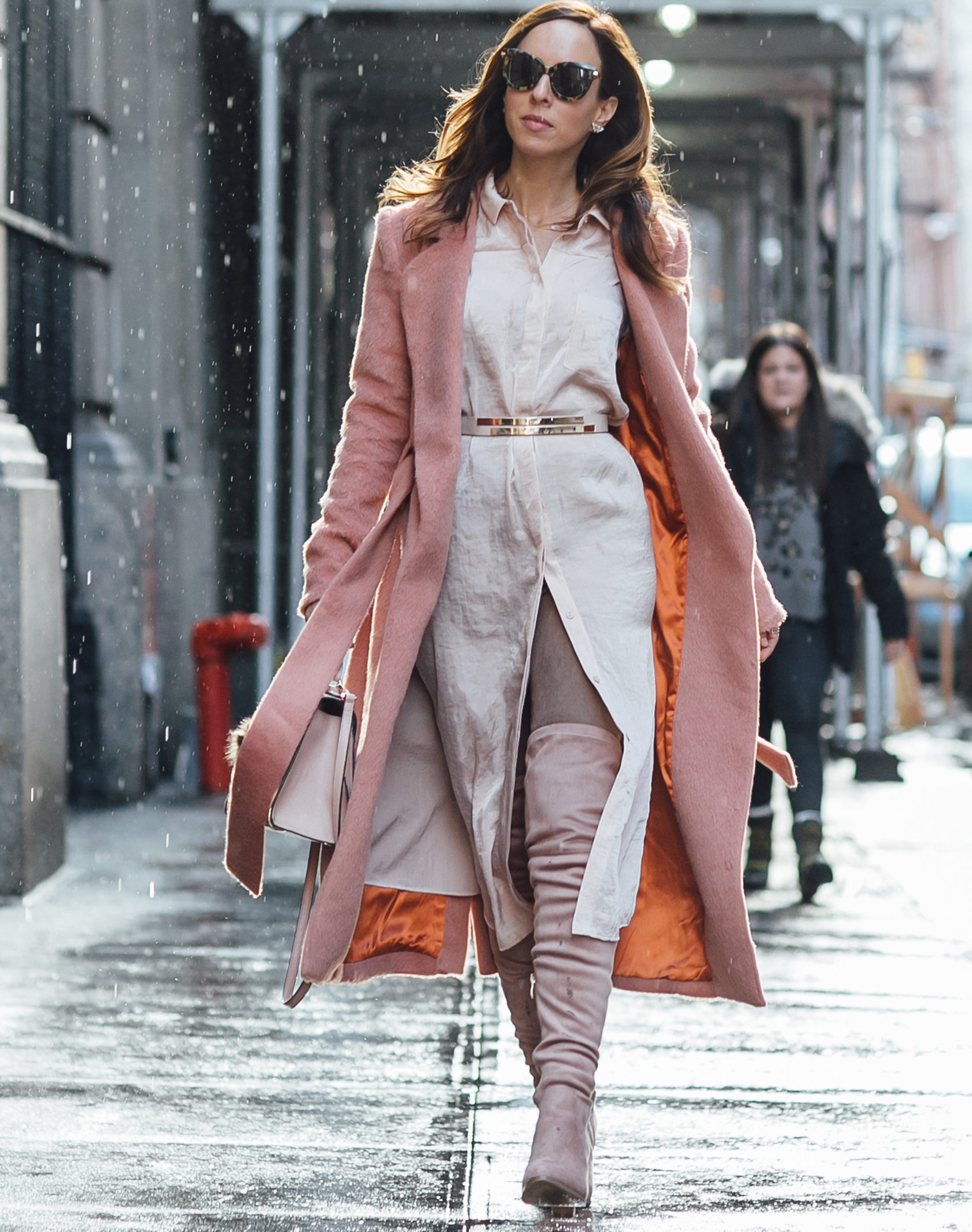 Sydne Style shows how to layer blush for spring in lavish alice pink coat