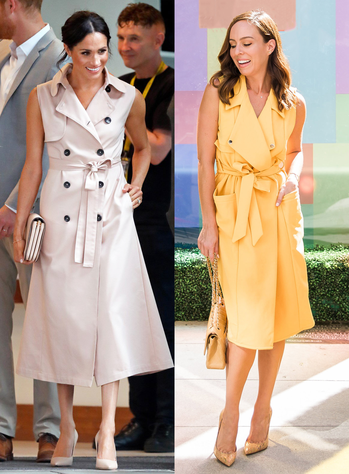 Sydne Style shows how to get meghan markle fashion for less in sleeveless trench dress