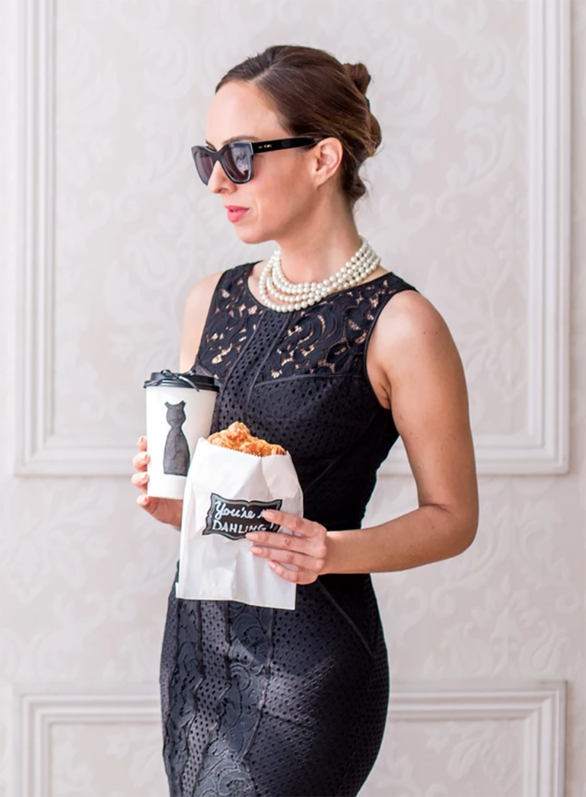 Sydne Style shares easy last minute halloween costume ideas as holly golightly from breakfast at tiffanys